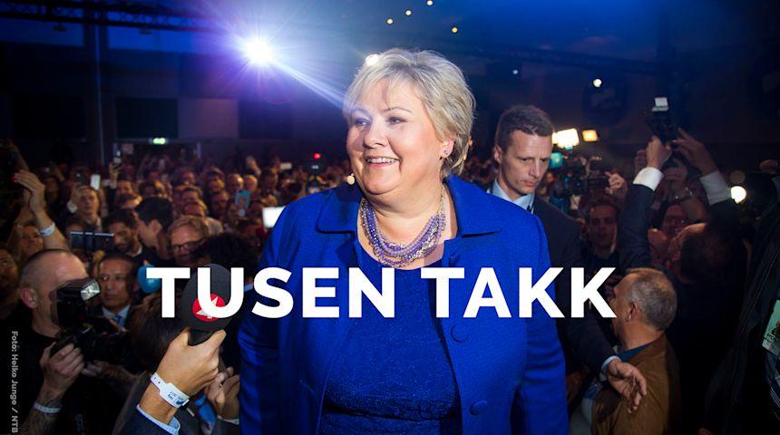 Tusen takk for tilliten til alle som har stemt og gitt oss fornyet tillit. Foto: NTB - Scanpix.