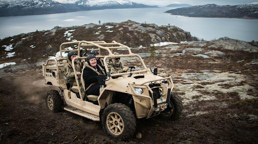 Statsminister Erna Solberg, her fra Ramsund Orlogstasjon. Foto: Cecilie Victoria Jensen