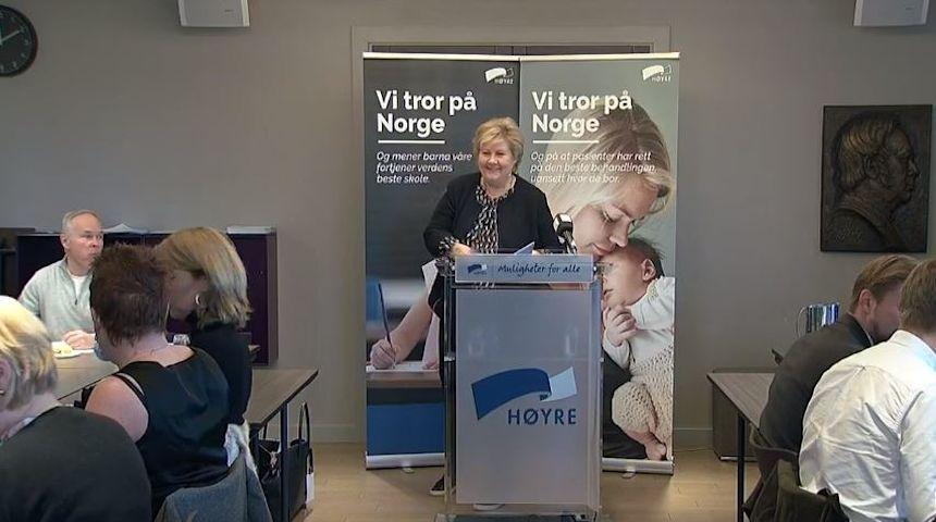 Det har større verdi å få eldre til å bli i jobb enn å åpne nye oljefelt sa statsministeren på søndagens sentralstyremøte i Høyre