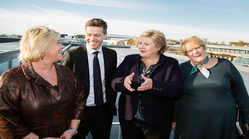 Partilederne Trine Skei Grande, Venstre, Erna Solberg, Høyre, Siv Jensen, Fremskrittspartiet og Knut Arild Hareide, Kristelig Folkeparti. Foto: Marie Von Krogh, VG/Scanpix