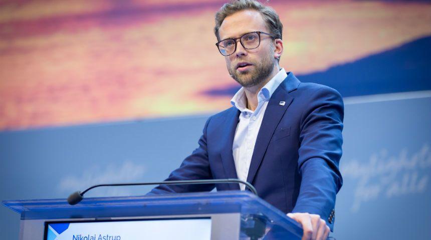 Mandag 4. desember ble statsbudsjettet for 2018 vedtatt, her ved saksordfører Nikolai Astrup. Foto: Hans Kristian Thorbjørnsen