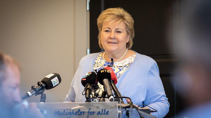 Statsminister og Høyre-leder Erna Solberg snakker til Høyres sentralstyremøte 11. juni 2018. Foto: Hans Kristian Thorbjørnsen