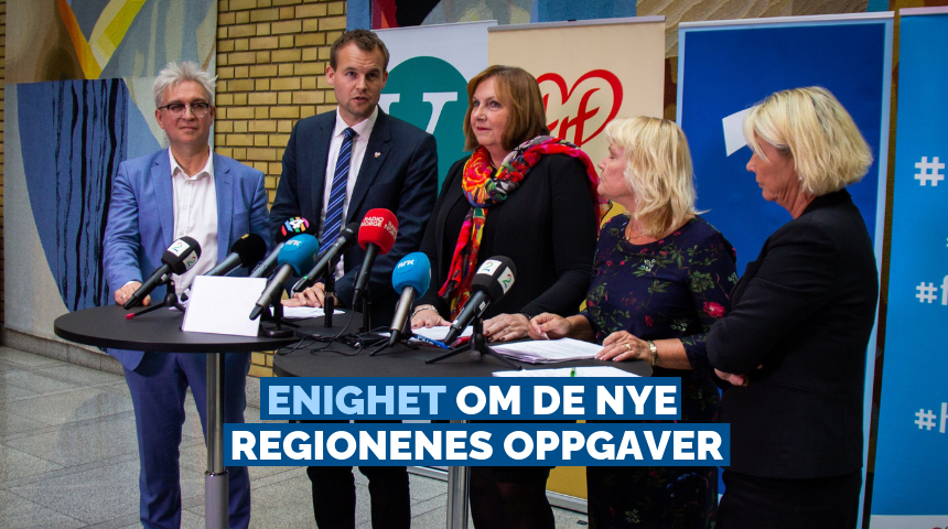 KrF, Venstre, Høyre og FrP er enige om oppgavene som skal overføres til de nye regionene. Foto: Cecilie Victoria Jensen