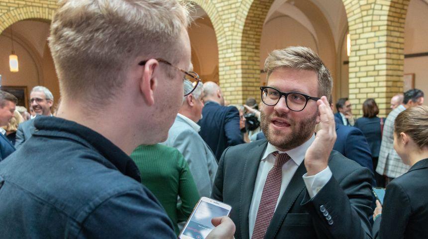 Stortingsrepresentant for Høyre, Stefan Heggelund, i Stortingets vandrehall i forbindelse fremleggelsen av statsbudsjettet for 2019. Foto: Hans Kristian Thorbjørnsen