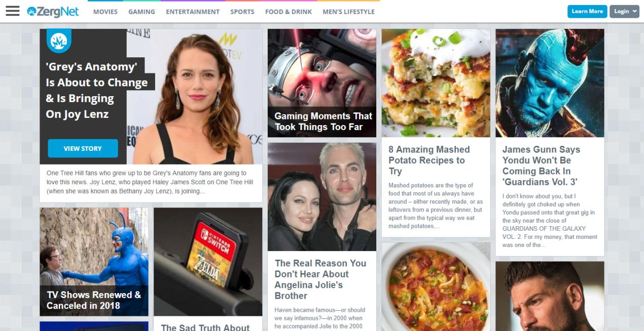 Homepage Zergnet