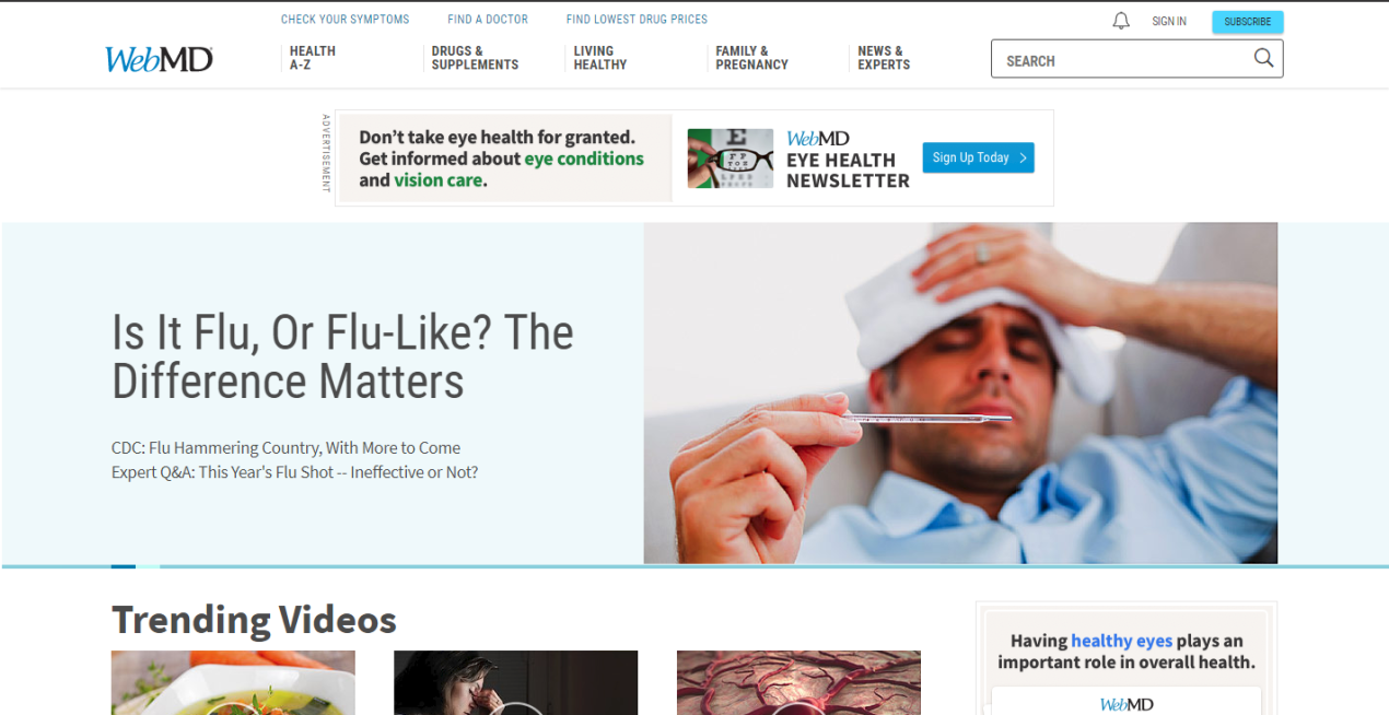 Homepage WebMD