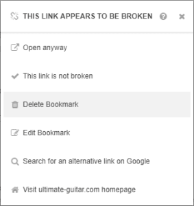 A popup showing a number of ways in which the user can deal with a broken link