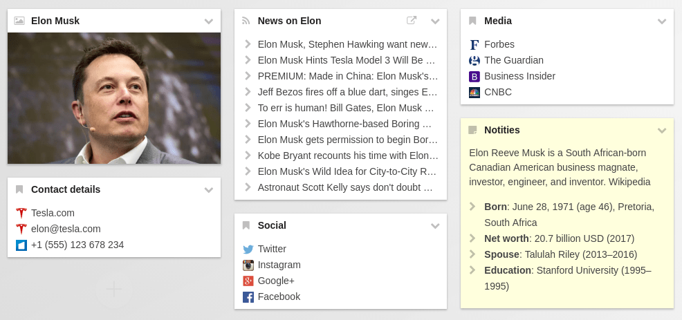 Share this start.me page with various widgets about Elon Musk: a number of bookmarks widgets, an image widget, a notes widget and an RSS widget