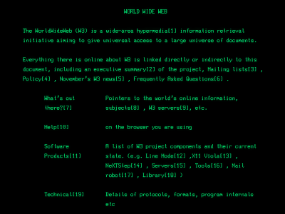 A screenshot of the very first website in 1991. No need to simplify here!