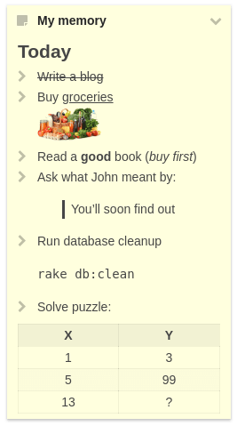 A notes widget with Markdown formatting applied