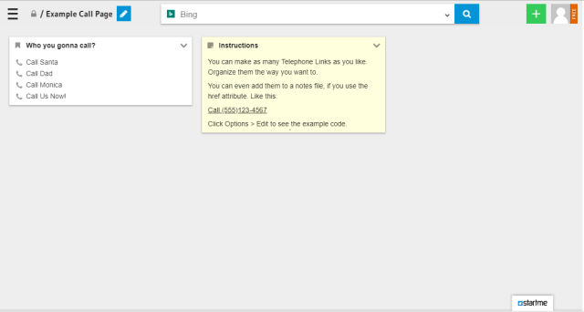 This is an example of a call page. No more searching or scrolling, just click to call!