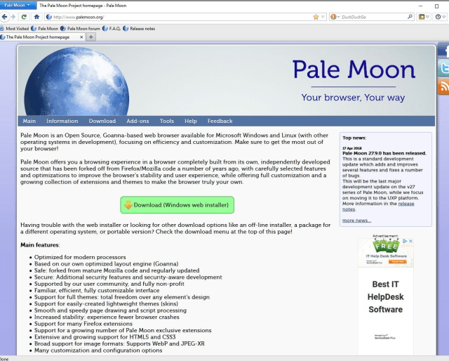Pale Moon makes you feel like using good old Nescape again.