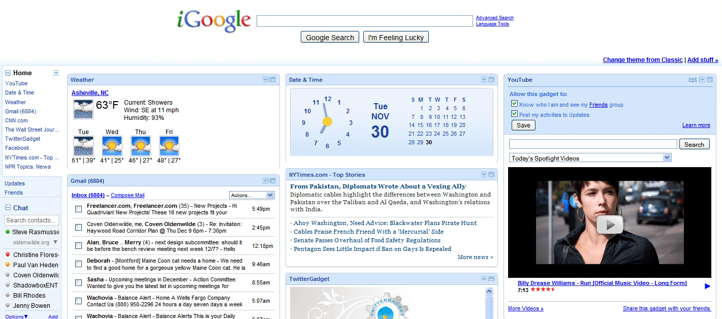 A iGoogle dashboard, as mentioned in a review