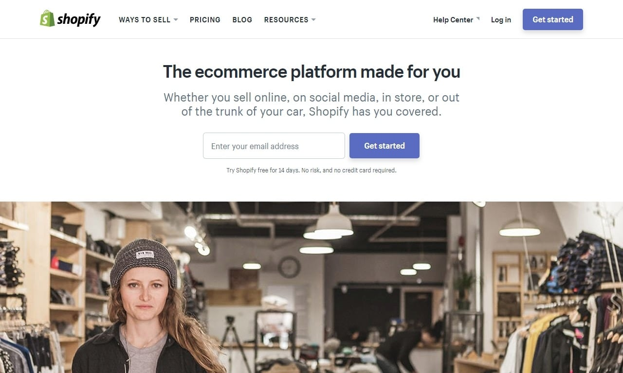 Homepage Shopify