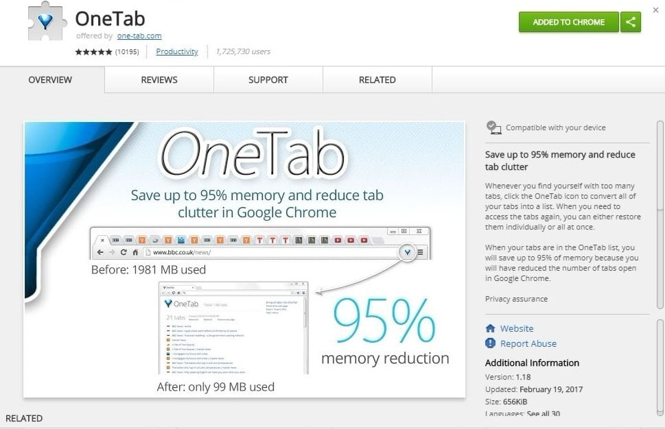 Use OneTab to transform a list of open tabs into a single, fast loading list.