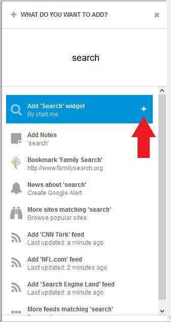 The Add Search widget pane.