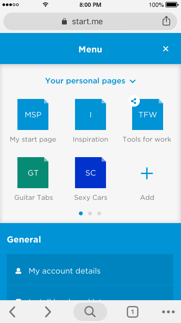 Use the Menu icon to get to your account or to switch pages.