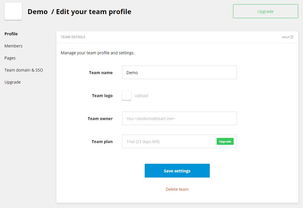 Edit your team profile