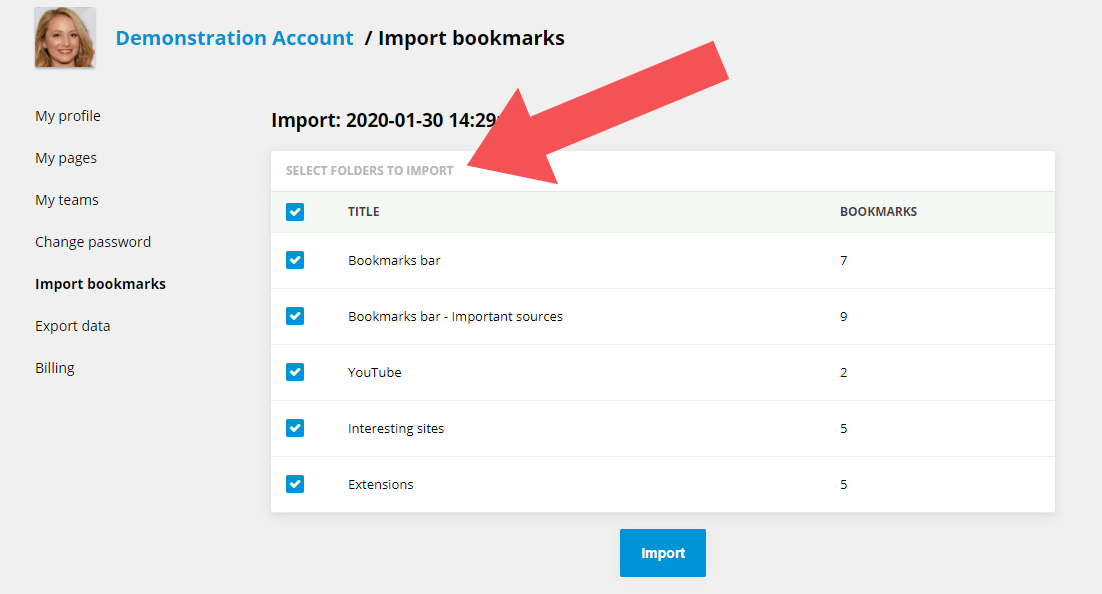 Importing bookmarks - select folders!