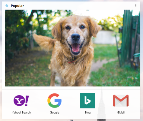 Image in a Bookmarks widget