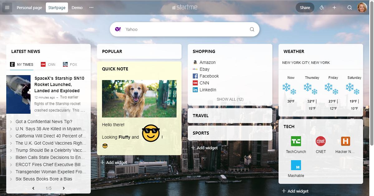 screenshot new start.me design