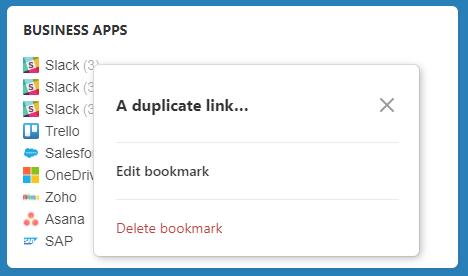 Duplicate link pop-up