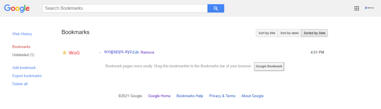 Example of the Google Bookmarks service