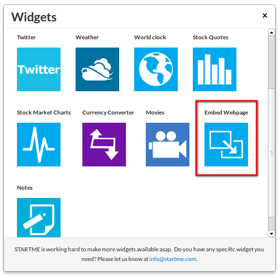The new Embed Webpasge widget