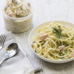 Mummy Cooks' Lunch recipes for Kids: Salmon & Courgetti Pasta