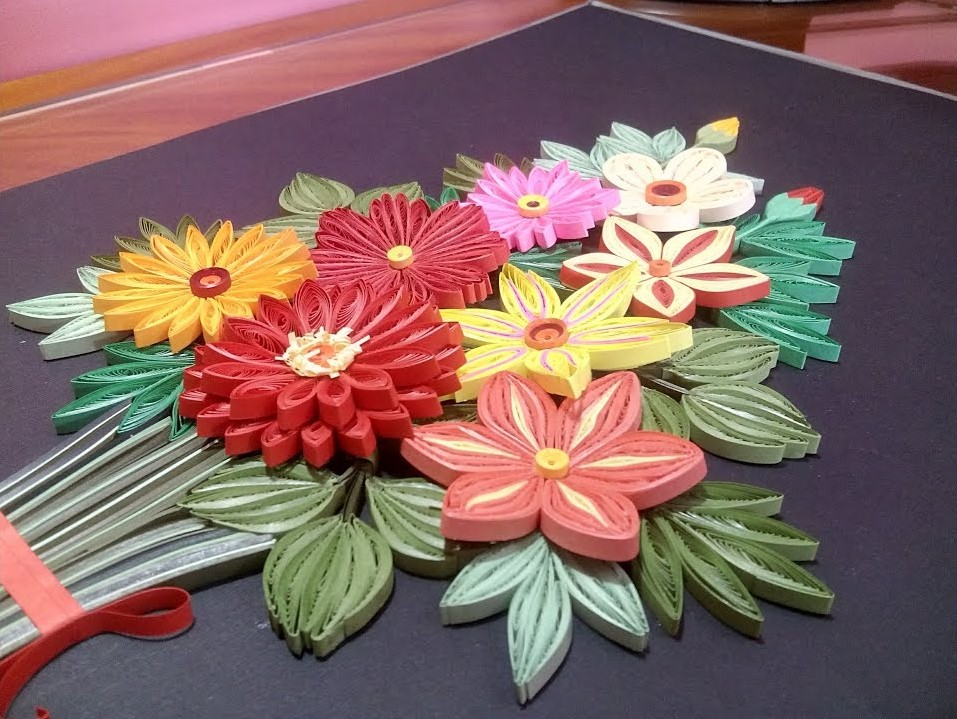 How to make a Quilling Flower Bouquet | 3D Quilling Bouquet