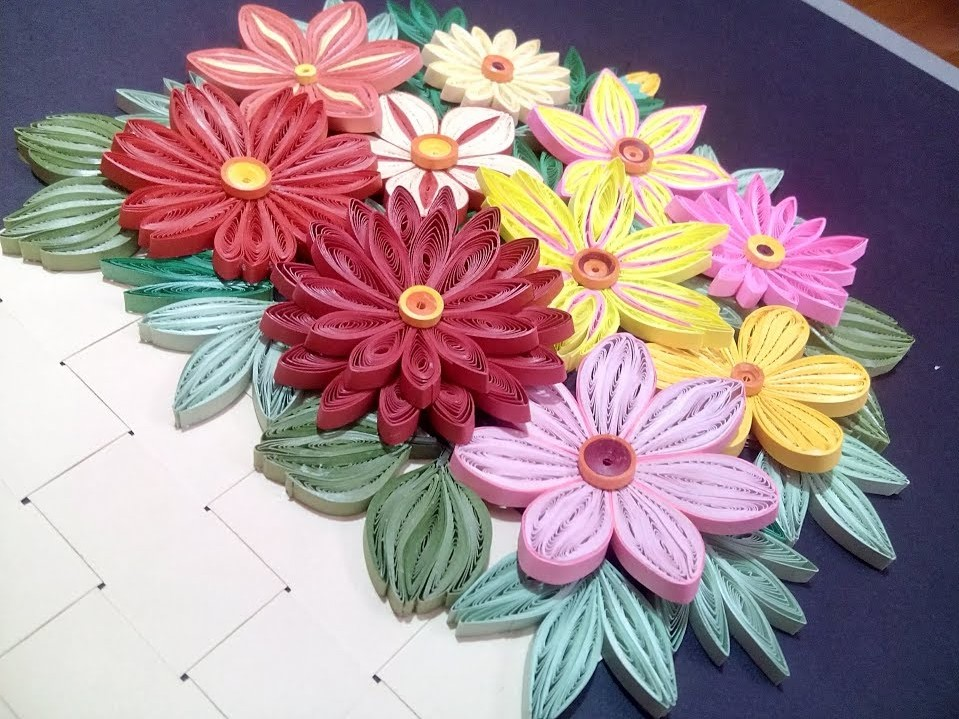 How to make a Quilling Flower Basket | Flower Basket with 3D Quilling Flowers