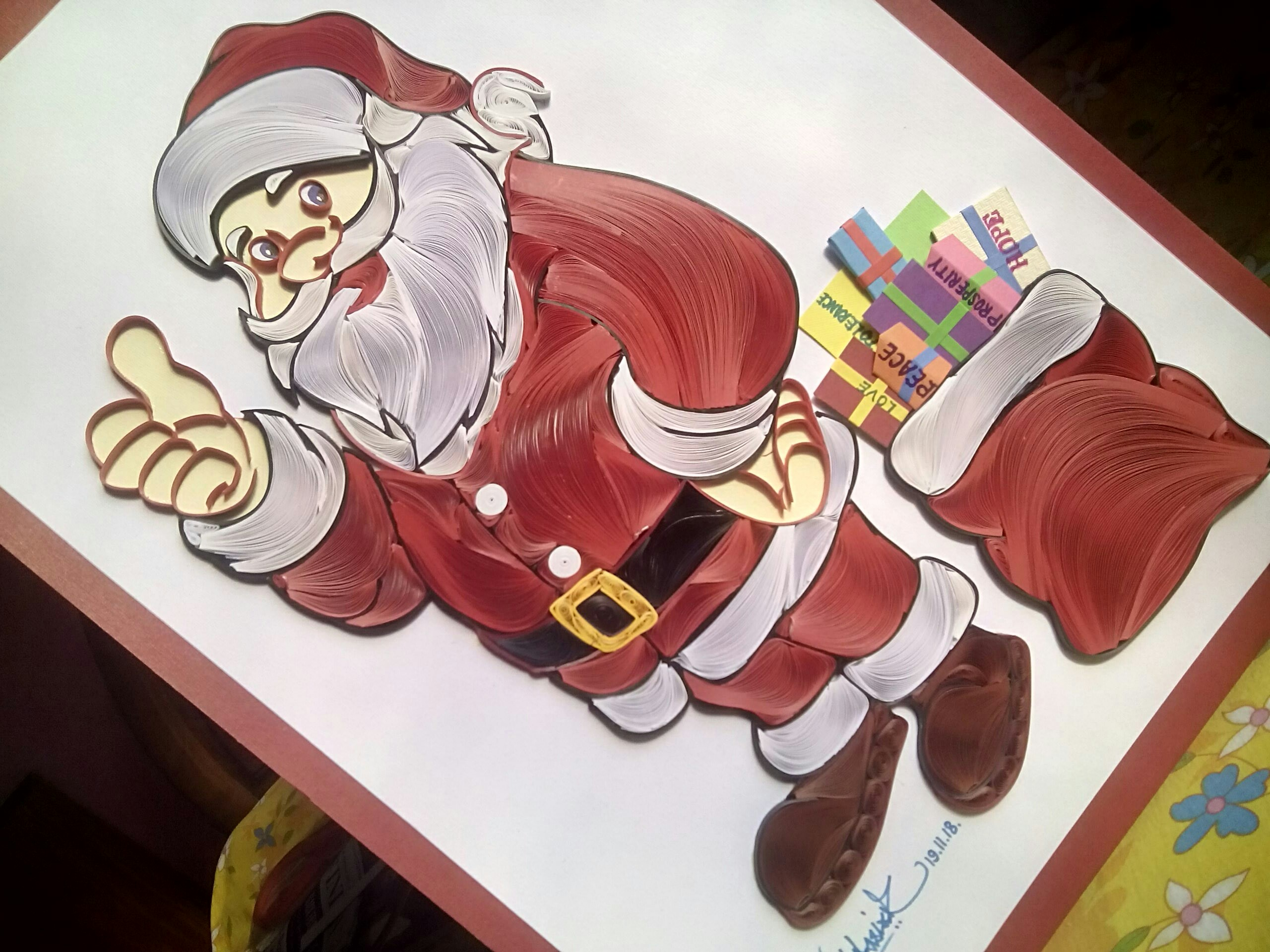 Quilling Santa Claus | Quilling wall hanging for Christmas