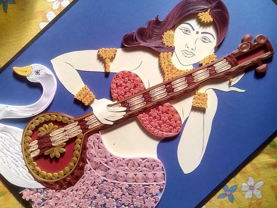 Quilling Saraswati | How to make Portrait of Goddess Saraswati using Quilling
