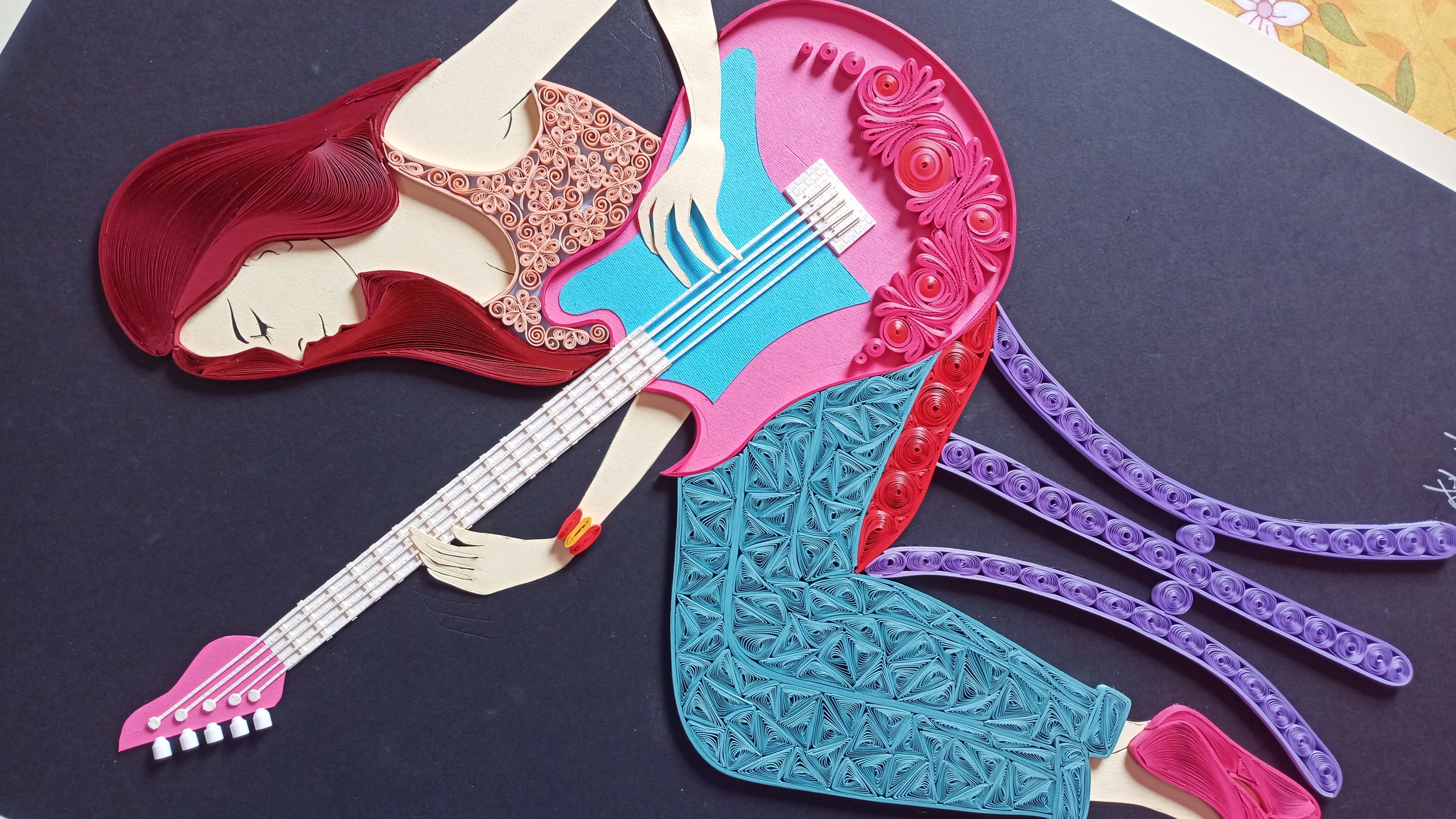 Quilling Girl with Guitar | Portrait of Guitarist