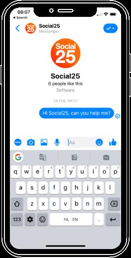 Telefoon met Social25 chatscherm
