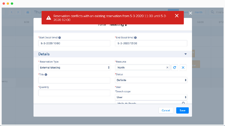Screenshot of Booker25 double booking message