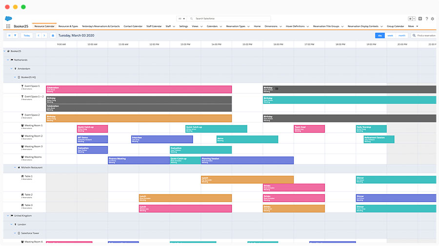 Booker25 screenshot van de kalender in Salesforce