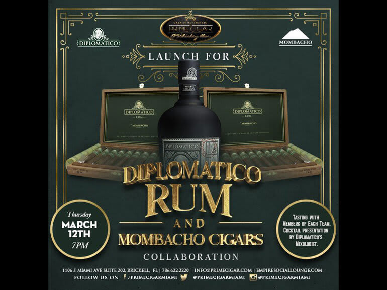 CASA DE MONTECRISTO BY PRIME CIGAR TO HOST INAUGURAL MOMBACHO DIPLOMATICO RUM CIGAR EVENT Featured Image