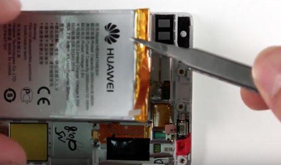 Huawei P8 Display Reparaturanleitung Schritt 12: Herausnehmen des Akkus