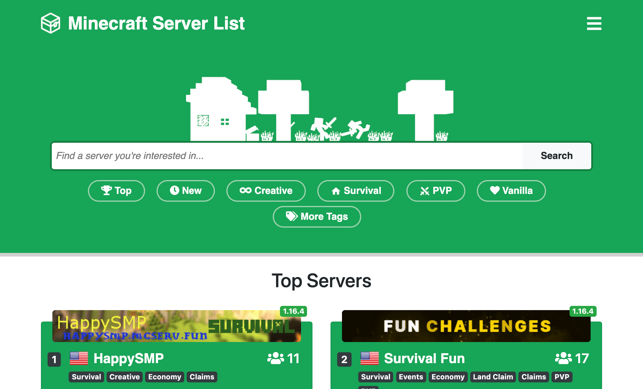 Minecraft Server List | Roast My Website