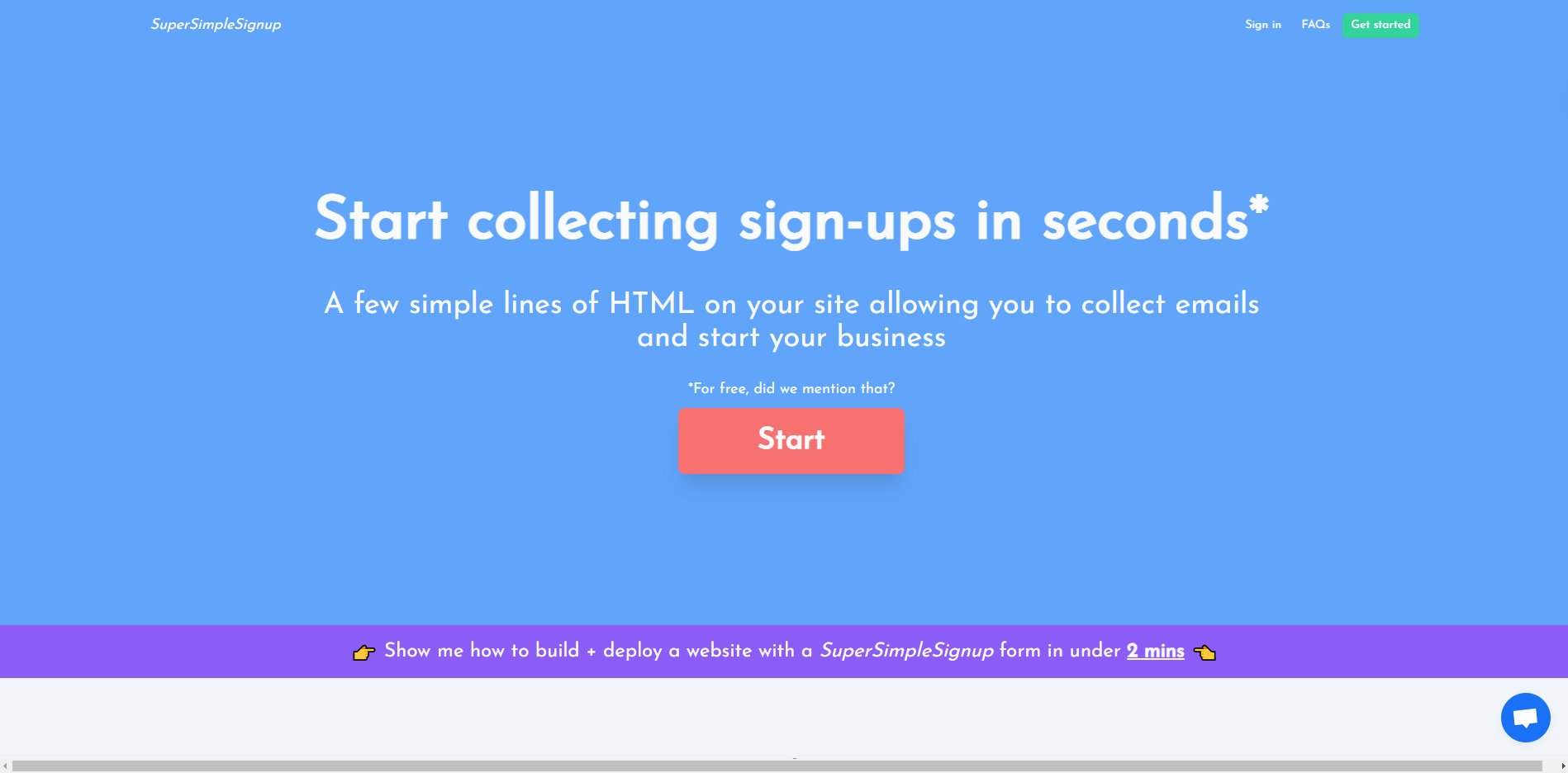 SuperSimpleSignup - add a free HTML sign up form to your site | Roast My Website