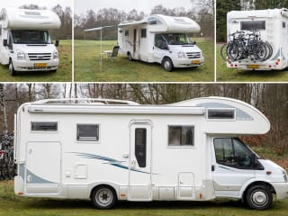 RIMOR – 6 person FORD motorhome with spacious seating area and large garage.