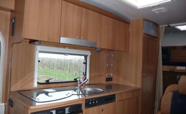 Dethleffs A5881 – Luxus Dethleffs Wohnmobil für 6 Personen 2x Airco, Navi, Etagenbett