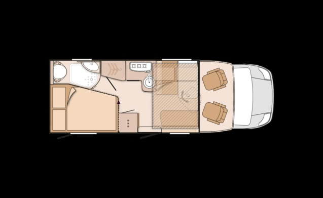 Ruime camper voor 4 personen, frans bed / PF4