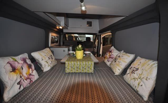 Type 2C – Unique stickered camper van with an XXL bed