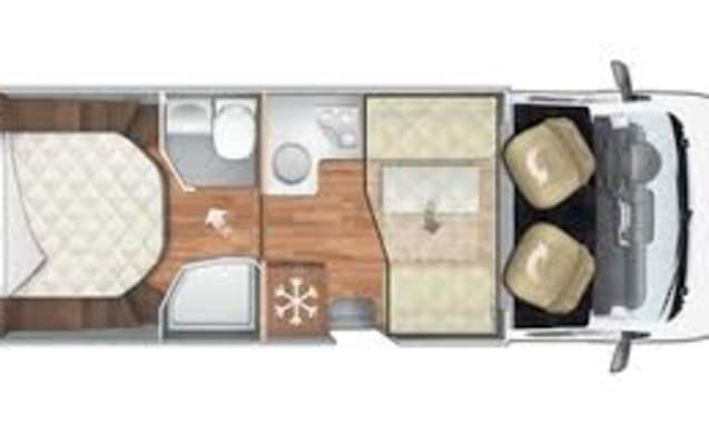 Familie Camper – Mobilhome for 4 people with unique spacious layout.