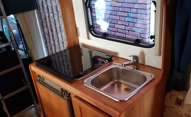 Elnagh Marlin – Very nice cozy complete butgetcamper from 2001 Denekamp