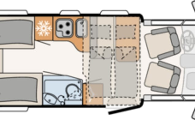 Comfort enkele bedden (45) – Spacious, luxurious and almost new 4-person camper with single beds and fold-down bed