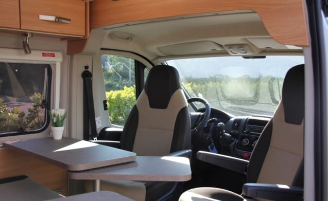 A cozy bus camper with length beds!