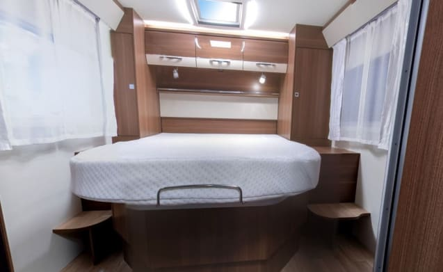 New motor home with Queens bed and pull-out bed / CF4
